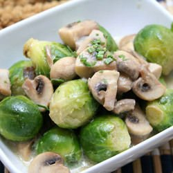 Salad with Mushrooms and Brussels Sprouts