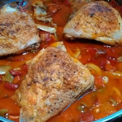 Serbian-Style Chicken Legs with Peppers and Mushrooms