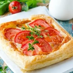 Puff Pastry Pitas with Roasted Peppers and Tomatoes