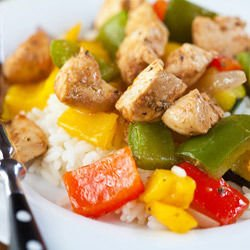 Chicken with Peppers on Aromatic Rice