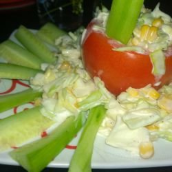 Thracian-Style Stuffed Tomatoes with Cabbage, Corn and Mayonnaise