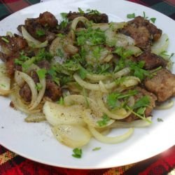 Chicken Livers with Mushrooms and Onions