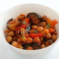 Spicy Chickpeas with Eggplants