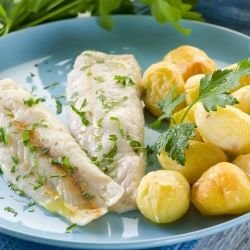 Potatoes with Butter and Fish in Foil