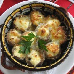 Stuffed Mushrooms with Processed Cheese and Cheese