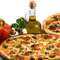 Pizza with Olives and Garlic
