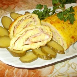 Potato Roll with Mozzarella and Ham
