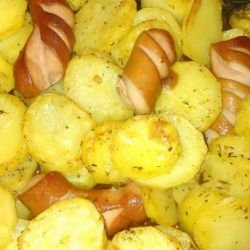 Roasted Potatoes with Wieners