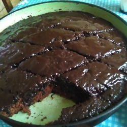 Brownie Cake with a Glaze