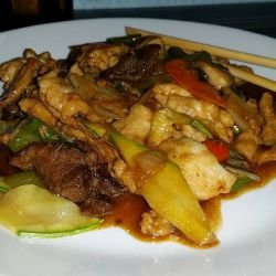 Chinese Dish with 3 Kinds of Meat and Vegetables
