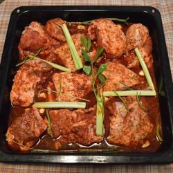 Tasty Marinated Baked Lamb