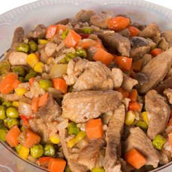 Pork with Carrots and Peas