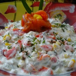 New Year`s Dairy Salad with Roast Peppers
