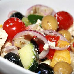 Salad with Marinated Feta Cheese