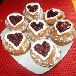 Muffins with a Strawberry Center and Cream