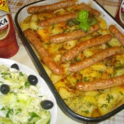 Oven-Baked Sausages and Potatoes