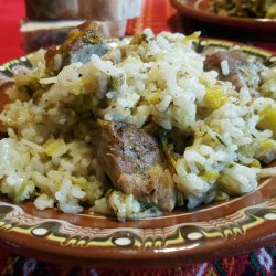 Baked Rice with Leeks and Pork