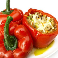 Bell Peppers Stuffed with Vegetables and Mince