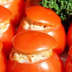 Stuffed Tomatoes with Ham, Mushrooms and Mayonnaise