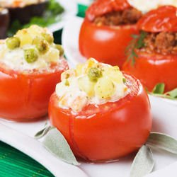Stuffed Tomatoes with Peas and Potatoes