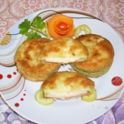 Crumbed Zucchini with Ham and Cheese