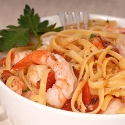 Spaghetti with Eggplants and Prawns