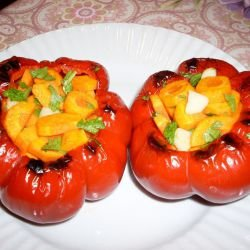 Roasted Marinated Bell Peppers with Carrots
