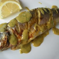 Roasted Sea Bass with Honey-Mustard Sauce