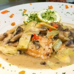 Chicken Thighs with Mushrooms and Leeks