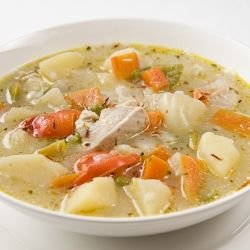 Chicken Soup with Potatoes and Cheese