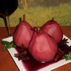 Poached Pears in Merlot with Aromatic Spices