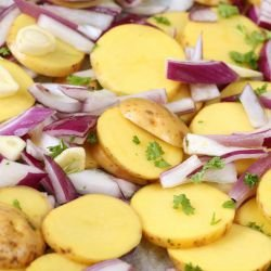 Baked Potatoes with Red Onions