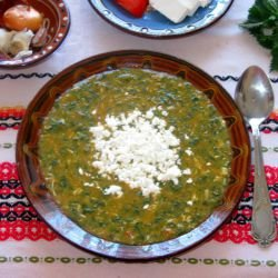 Spring Nettle Porridge with Eggs and Feta Cheese