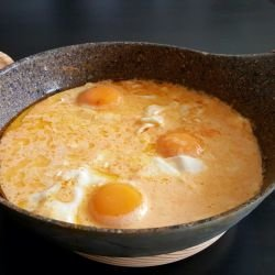 Eggs Sunny Side Up with Processed Cheese Sauce