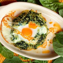 Spinach Nest with Eggs
