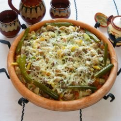 Saj with Pork and Vegetables in the Oven