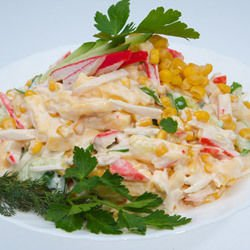 Salad with Crab Rolls and Corn