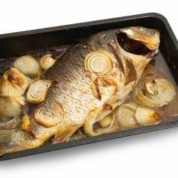 Stuffed Carp with Onions and Mushrooms