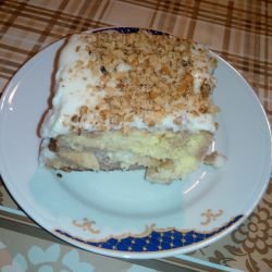 Syruped Cake with Homemade Cream and Layers