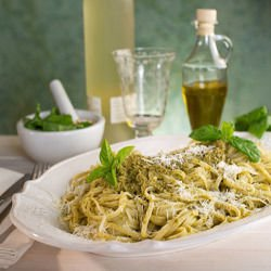 Spaghetti with Green Pea Pesto
