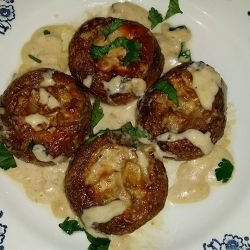 Stuffed Mushroom Caps with Cheese and Processed Cheese