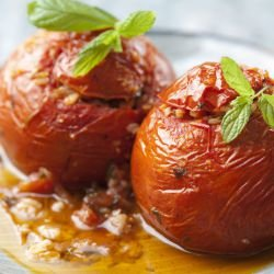 Stuffed Tomatoes with Chicken Meat
