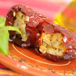 Dried Red Peppers, Stuffed with Rice and Onions