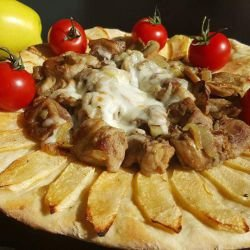 Pork with Mushrooms over Flatbread with Apples