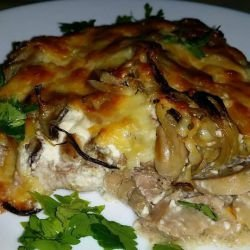 Pork with Crispy Cheese Crust