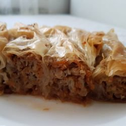 Syruped Butternut Squash Pie with Walnuts and Cinnamon