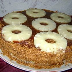 Cake with Pineapple and Caramelized Coconut