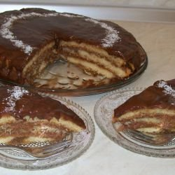Cake with Chocolate and Bananas