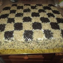 Chessboard Cake with Cream