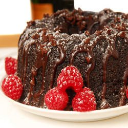 Brownie Cake with Raspberries
